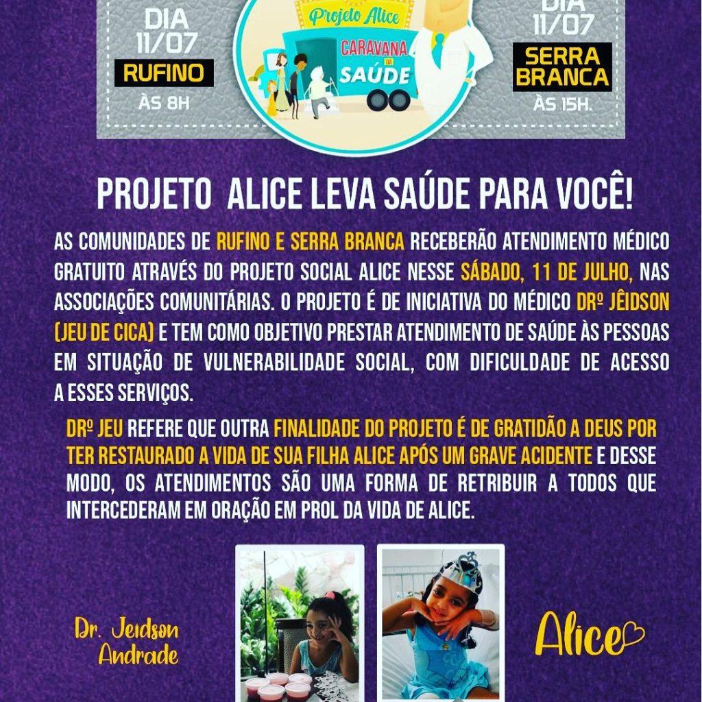 Projeto Social Alice: Médico de Araci levará atendimentos aos mais carentes no município