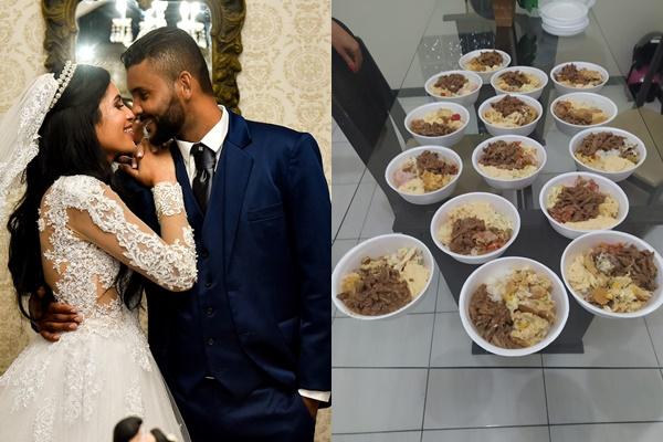 Boa ação: Noivos doam marmitas do casamento para pessoas carentes em Araci
